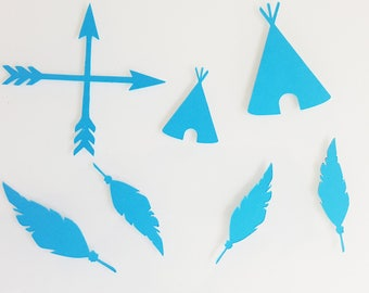 10 confetti-Teepees arrows-paper 210 gr - blue and grey feathers - baptism table decoration