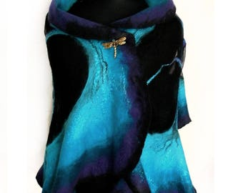 Nuno felted  shawl Dragonfly. Nuno Felted Shawl, Art Felted Wool and Silk Scarf