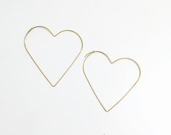 Oversized wire heart hoop earrings