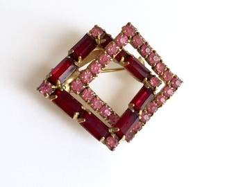 Pink and Red Two Squares Rhinestone Brooch