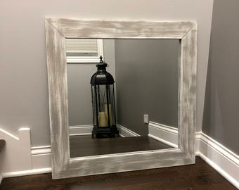 gray washed mirror on a white base wood wood frame mirror rustic wood mirror - White Frame Mirror