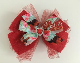 Elena of Avalor Bow Disney Princess Bow Princess Elena Bow Elena of Avalor Bow with Red Glitter Tulle and Heart Center Princess Bow