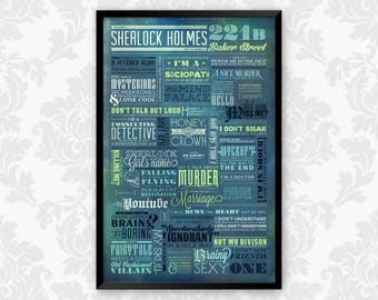 BBC Sherlock Holmes TV Series 221b Baker Street Quote Typography Art Poster