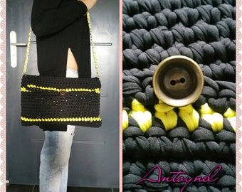 handbag, violet and black and yellow