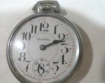 1920s Delmark Pocket Watch Railroad Dial 7 Jewel Swiss Movement Running 51mm