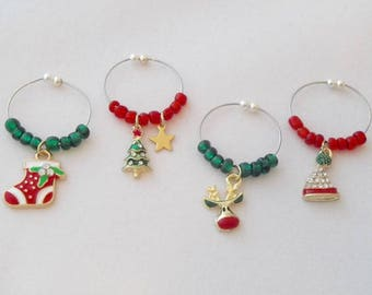 Christmas Wine Charms / Set 3 - Stocking Cap, Christmas Tree with gold star, Reindeer and Christmas Stocking