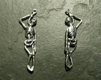 Skeleton Skull Hangman Noose Death Pendant Charm Necklace Earring Accessory Gift Set of 2 Skeleton Hangman Noose Pendant Charm Necklace DIY