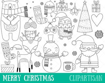 Christmas Clipart Digital Stamps | Christmas Coloring Page | EPS | PNG | Santa Clip Art | Snowman Clip Art | Christmas Line Art