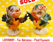 LAYAWAY for Adrianne - Final Pmt - Lefton Anthro. Bluebirds with Rhinestone Eyes Salt and Pepper Shakers made in Japan circa 1950s