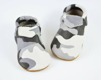 Gray Camo Loafers Baby Infant Boys Girls Kids Toddler Soft Sole Shoes Handmade Genuine Leather Moccasins Prewalker Crib Booties