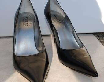 black Guess Vintage Leather Kitten Heel Court Shoes Pumps Designer Shoes Rare Vintage Shoes Gift for Her