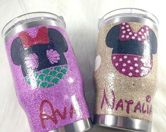 Kids glitter tumbler//disney themed kids cups//stainless steel glitter tumblers