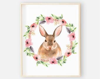 Bunny Nursery Digital Print | Nursery Wall Art | Floral Bunny Wall Art | Floral Baby Girl Nursery Decor | Sweet Woodland Bunny