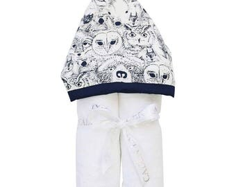 Baxter's Woodland Animal | Full Size Toddler Hooded Towel |Navy and White | Baby Shower Gift | Boy Shower Gift