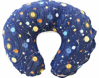 Liam's Universe   Intergalactic Planets   Navy Nursing Pillow Cover