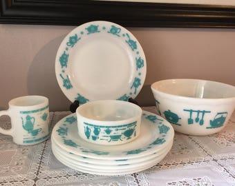 Vintage Hazel Atlas Kitchen Aids milk glass collectors starter set