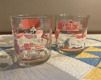 Vintage Hazel Atlas Pink Kitchen Aide Sour Cream Glasses, set of 2