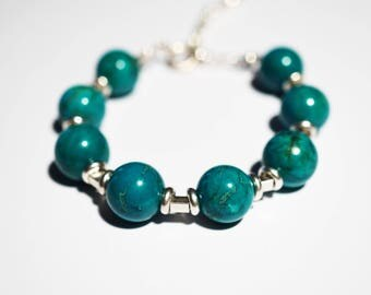 Handmade Sterling Silver Green Agate   Bracelet 28g