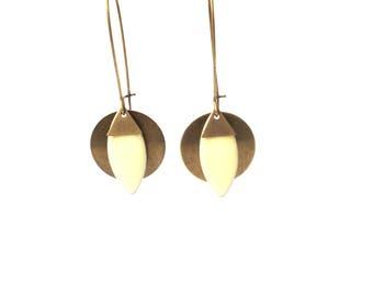 Bronze sequin, bo sequin shuttle cream sequins Leverback Earrings