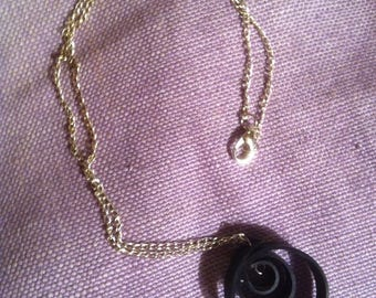 Spiral black inner tube necklace