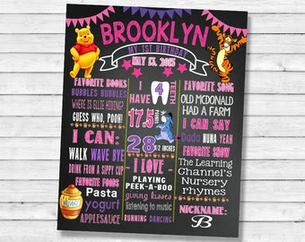 Printable Winnie the Pooh First Birthday chalkboard sign - 1st 2nd 3rf birthday chalk board poster banner milestone for a girl (108)