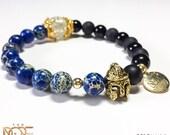 Blue Jasper Bead Bracelet, Blue Sediment Stone Bracelet, Black Matte Onyx Bracelet, Mens Beaded Bracelet, Gold Sparta Helmet Bracelet, 8mm