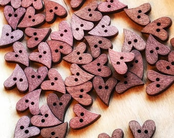 20mm Cute Wooden Heart buttons, 2 hole, 5, 10 or 20 pack, sewing and crafts, scrapbooks, Novelty buttons, Valentine's Day