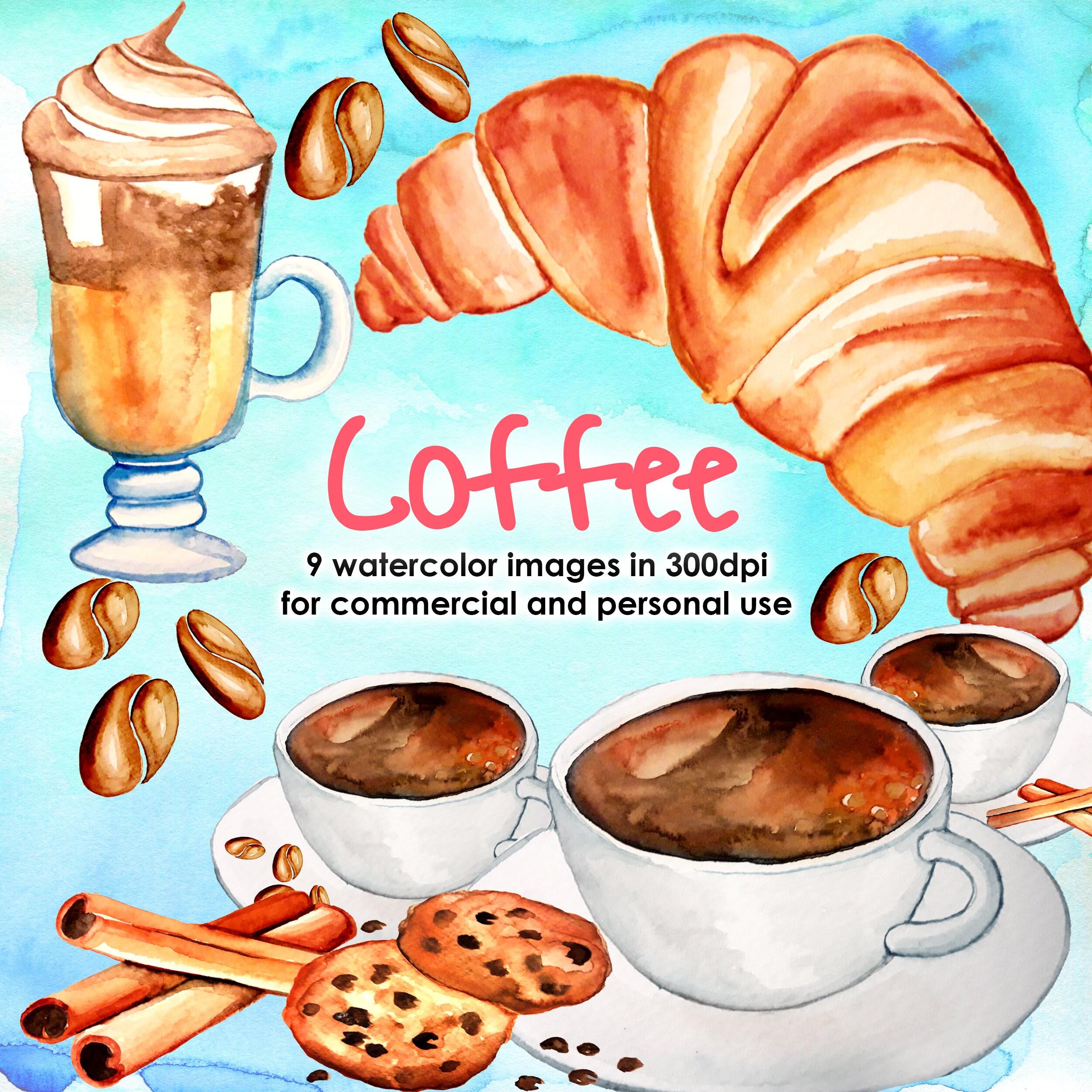 Coffee watercolor clipart pack watercolor set cinnamon for Coffee watercolor