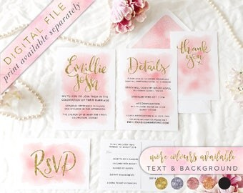 Printable Wedding Invitation Set, Printable Wedding Invitation, Wedding Invitation, Custom wedding Invitation,Watercolour Wedding Invitation