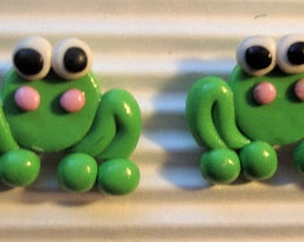 Earrings frog-animal miniature polymer clay.