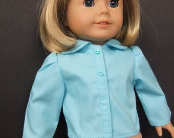 Blouse to fit American Girl Doll; turquoise