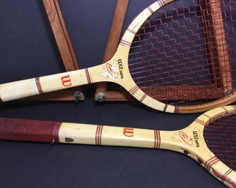Pair of Wilson 60s Comet Wood Tennis Rackets with Presses.