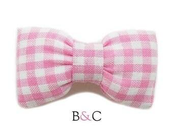 Plush pink Gingham Bow Barrette.