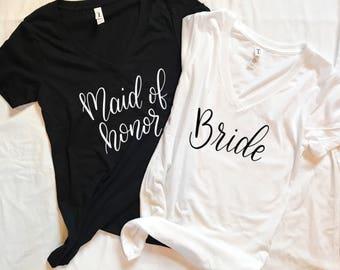 Bridesmaid T-shirts - Bridal Party Gift, Maid of Honor Shirt, Bride Shirt, Bridesmaid Gift