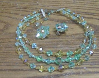 crystal like beaded Necklace with clip on matching Earrings