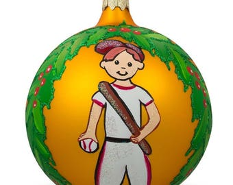 "4"" Baseball Player Glass Ball Christmas Sports Ornament"