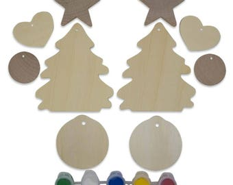 10 Blank Wooden Christmas Tree, Heart, Ball & Star Ornaments Cut Outs