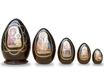"""6.5"""" Set of 5 Mary and Jesus Wooden Nesting Dolls"""