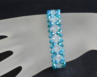 Bracelet crystal Swarovski cuff bi-colored, crystal ab2x, blue zircon ab2x