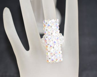 Long Swarovski crystal ring - crystal ab2x