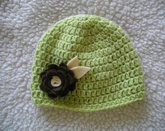 baby hat, baby girl boy christening almond, Brown, ecru, ideal for school