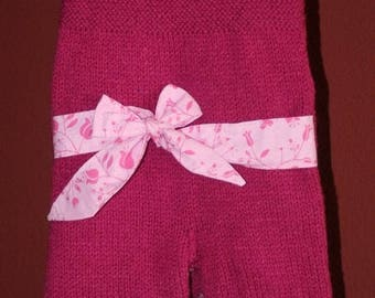 Jumpsuit with belt raspberry size 6 month handmade