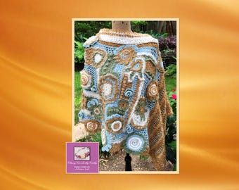 Crochet Poncho, Boho Crochet Poncho, Knit Poncho, Wool Poncho, Hand Knit Sweater, Crochet Freeform, Handmade Poncho, Shawl, Boho Chic, Wrap