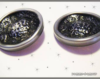 Set of 2 silver buttons 3.6 cm
