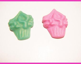 ♥ 2 ♥ polymer fimo clay cupcake cabochons