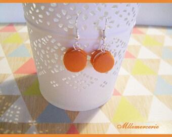 Polymer ♥ orange polymer clay macaroon earrings ♥