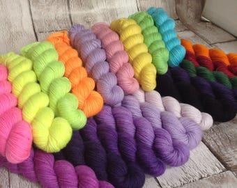 Hand dyed yarn sock weight 'Mystery semi-solid mini' skein set, 75% superwash merino 25 nylon /yarn /wool/ knitting yarn/ crochet yarn