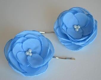 Pair of blue flower hair pins bridesmaid hair clips hair flowers wedding hair accessories soft blue pretty hair accessory something blue