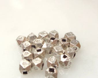 Thai Silver Hand Stamped Faceted Metal Cornerless Cube Beads Karen Hill Tribe DIY Jewelry Making Supplies Beading Sundance Style  - 20 pcs