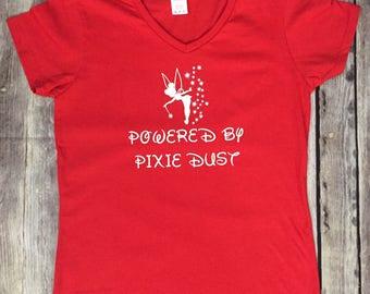 Powered By Pixie Dust, Tinkerbell Women's V-Neck T-Shirt, Disney Tee, Disney Trip